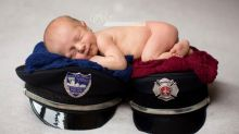 Baby celebrates firefighter mom, police officer dad in newborn photo shoot