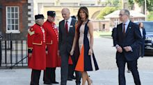 Melania Trump steps out in colorful Victoria Beckham dress amid London protests