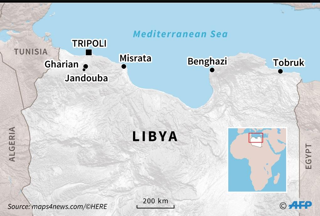 Map of northern Libya (AFP Photo/Vincent LEFAI)