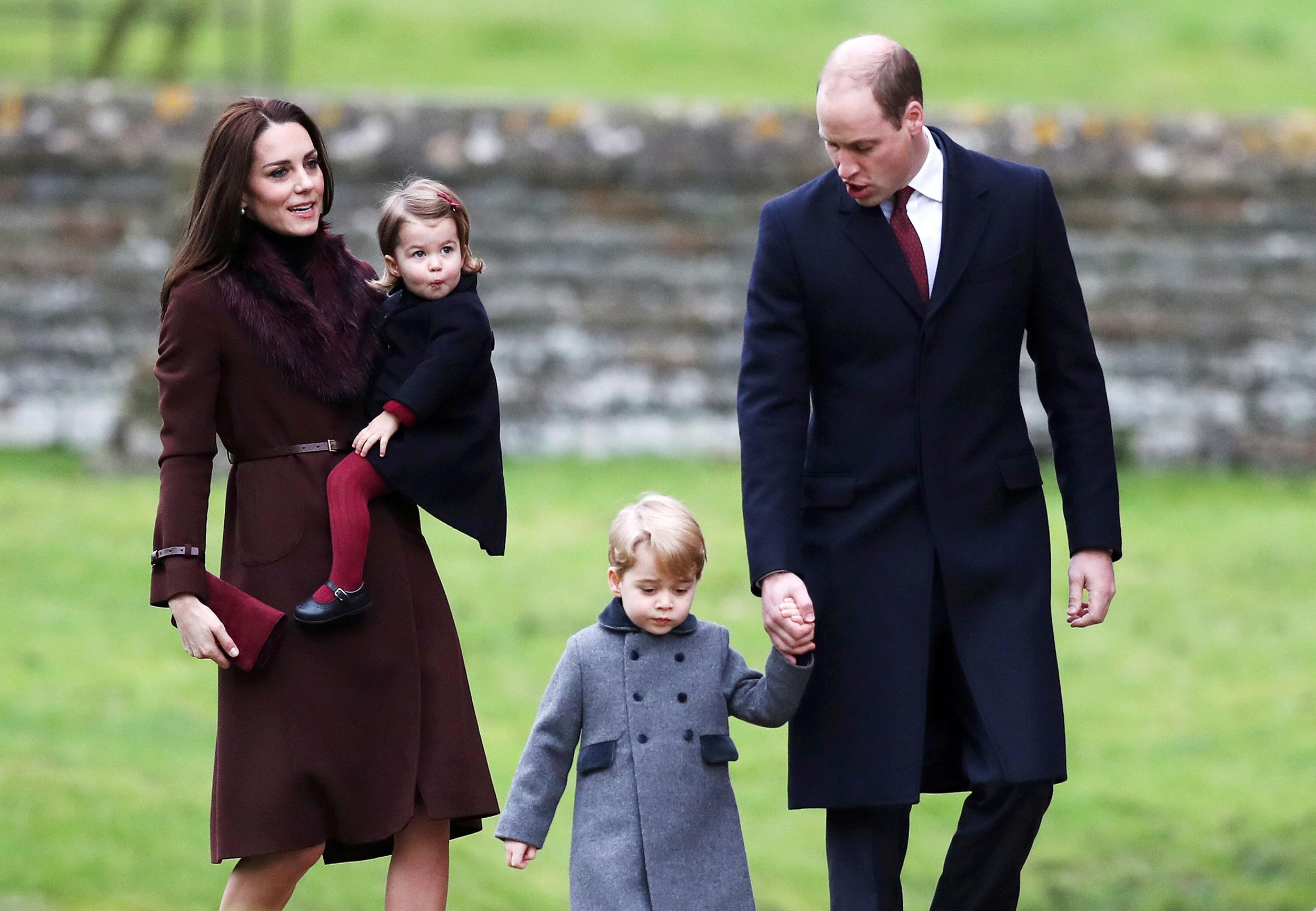 Prince William, the Duke of Cambridge (R), his wife Catherine, The Duchess of Cambridge (L), Prince George (2nd R) and Princess Charlotte arrive to attend the morning Christmas Day service at St Mark's Church in Englefield, near Bucklebury in southern England, Britain, December 25, 2016. REUTERS/Andrew Matthews/Pool