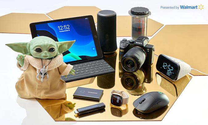 The Engadget 2020 Holiday Gift Guide and various technology gear.