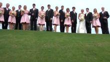 Unlucky wedding videographer falls down hill mid-shot
