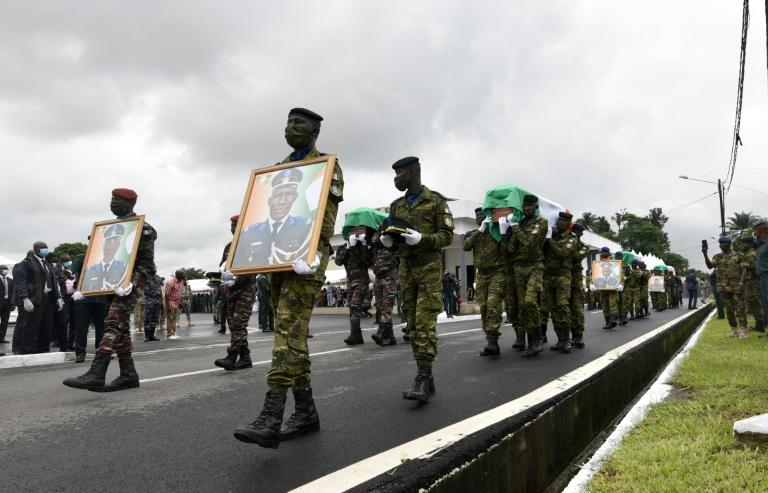 A ceremony was held for the soldiers killed during an attack in Kafolo on June 11
