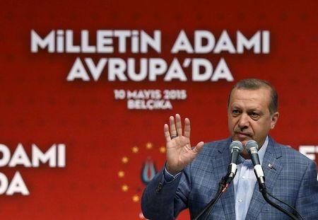 Turkey's President Tayyip Erdogan gestures as he delivers a speech at the Ethias Arena in Hasselt, Belgium, May 10, 2015. REUTERS/Francois Lenoir
