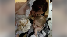 12-year-old boy with cancer escorts his mother down the aisle