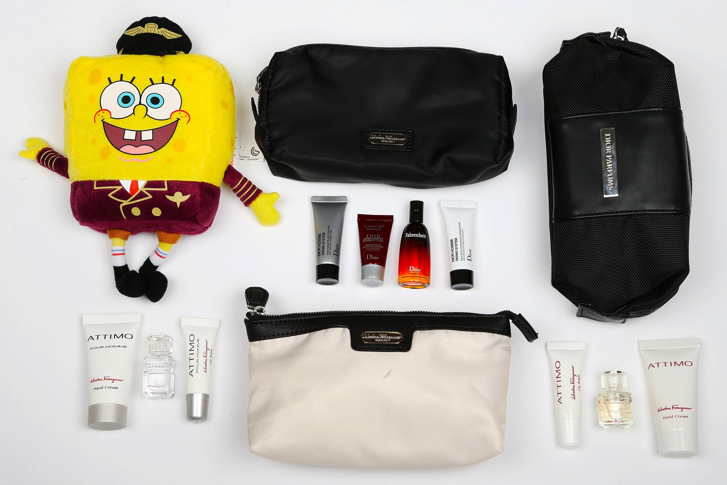<p><strong>What do you get?</strong> First class - In a Dior-branded black bag, for men, there is Dior Fahrenheit Eau De Toilette, serum and moisturiser. For women, the luxury goods are Dior J'adore Eau de Parfum products.<br /> Business class - Male and female business travellers receive Salvatore Ferragamo Attimo products: Hand cream, lip balm, and perfume.<strong> </strong><br /> <strong>Best bit of the kit?</strong>The ultra-luxe Dior and Ferragamo products.</p>