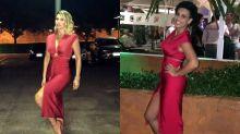 Flávia Alessandra cumpre promessa e empresta vestido para seguidora