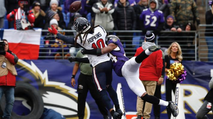 Pass interference not called or reversed on replay review of play by Ravens' Marlon Humphrey on Texans' DeAndre Hopkins.