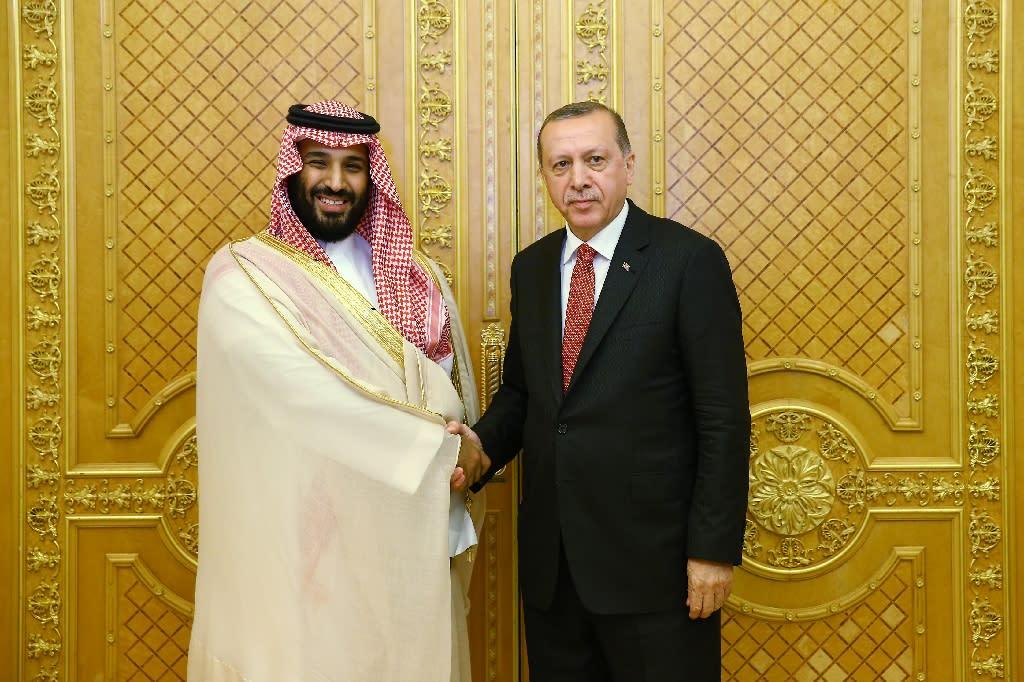 Saudi Crown Prince Mohammed bin Salman shakes hands with Turkey's President Recep Tayyip Erdogan in July, 2017