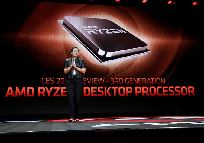 Lisa Su, president and CEO of AMD, talks about AMD's 3rd generation Ryzen desktop processor during a keynote address at the 2019 CES in Las Vegas, Nevada, U.S., January 9, 2019. REUTERS/Steve Marcus