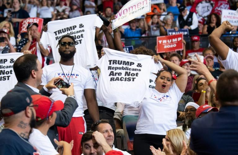 President Donald Trump is on holiday but part of his time off will be spent holding a rally like this one (AFP Photo/SAUL LOEB)