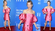 Renee Zellweger, 50, returns to red carpet in 80s-inspired hot pink mini dress