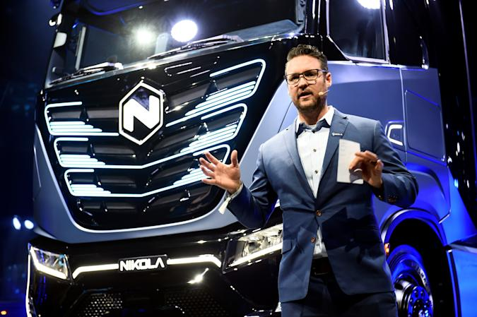CEO and founder of U.S. Nikola, Trevor Milton speaks during presentation of its new full-electric and hydrogen fuel-cell battery trucks in partnership with CNH Industrial, at an event in Turin, Italy December 2, 2019. REUTERS/Massimo Pinca