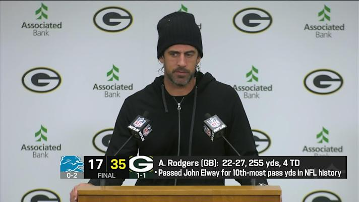 Aaron Rodgers reacts to bounce-back win over Lions on 'MNF'