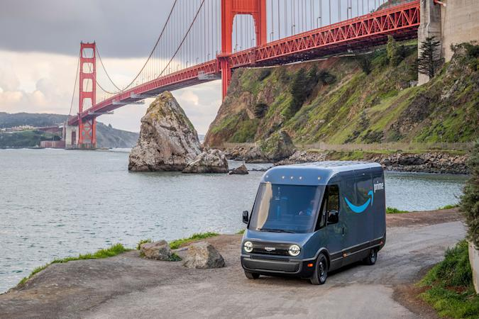 Amazon's Rivian electric delivery van in San Francisco