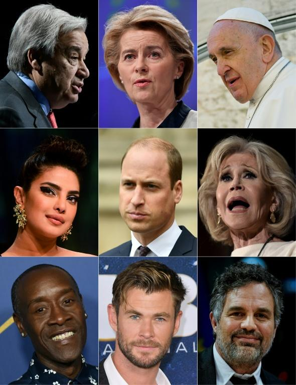 This combined photo, created October 10, 2020, shows TED talk climate speakers (L to R, top to bottom) Antonio Guterres, Ursula von der Leyen, Pope Francis, Priyanka Chopra, Prince William, Jane Fonda, Don Cheadle, Chris Hemsworth and Mark Ruffalo
