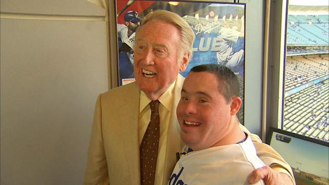Lifelong Dodger fan Nick Ybarra meets idol Vin Scully