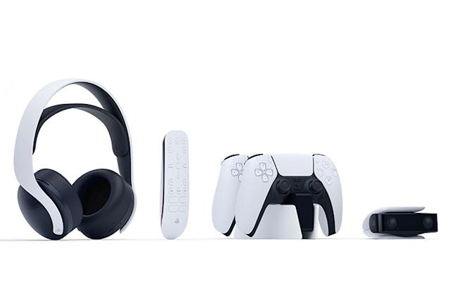 PlayStation 5 accessories include a camera and '3D' headphones