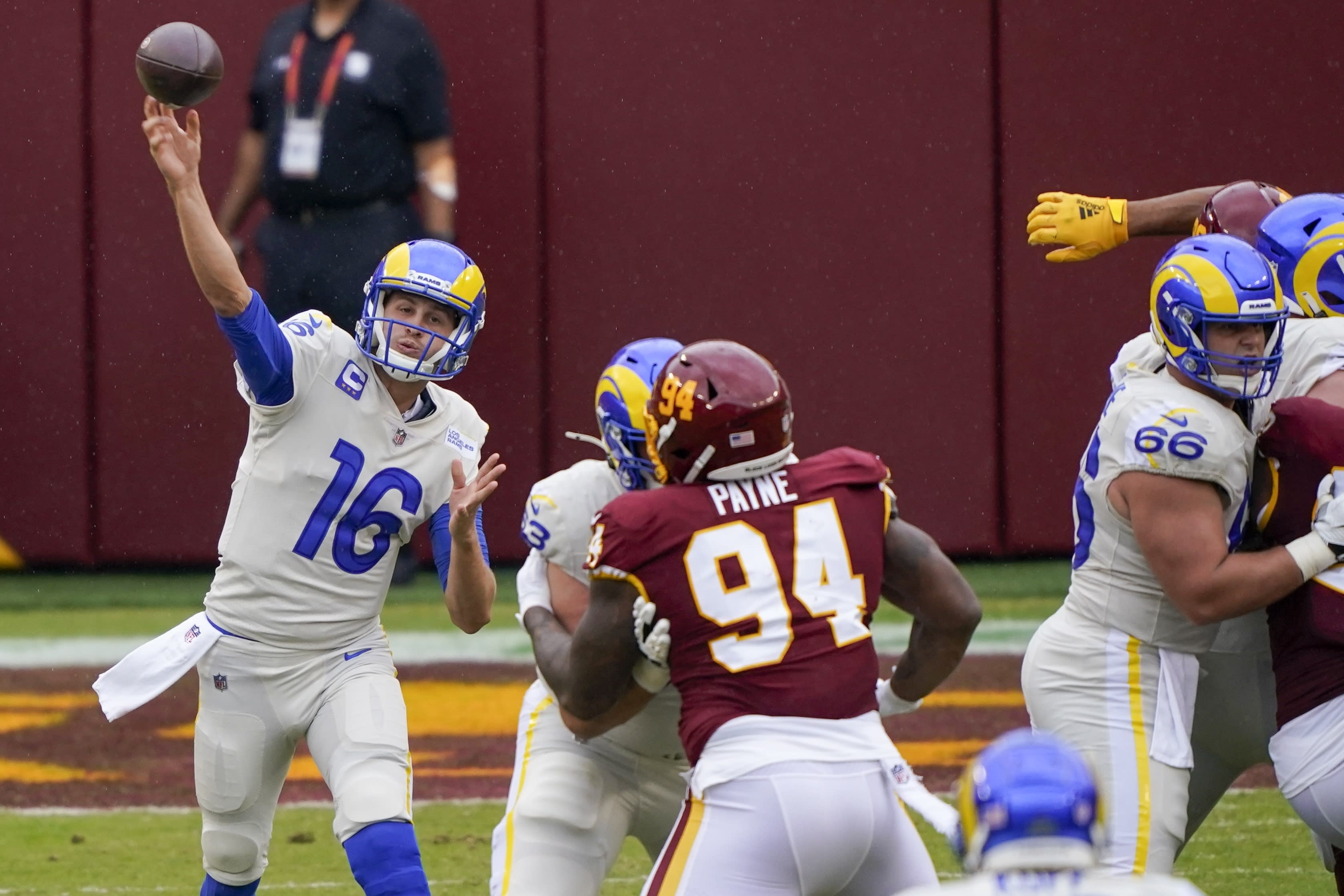 Los Angeles Rams quarterback Jared Goff throws during the first half of an NFL football game against the Washington Football Team Sunday, Oct. 11, 2020, in Landover, Md. (AP Photo/Susan Walsh)
