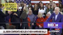 Jill Biden Intercepts Heckler As He Approaches Joe Biden At New Hampshire Rally