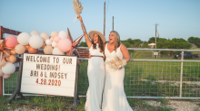 These brides got married at a drive-in movie theater after coronavirus canceled their original wedding plans