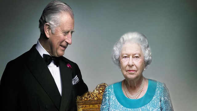 Queen Elizabeth Poses With Prince Charles In Beautiful New