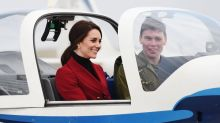 Duchess of Cambridge enters the cockpit in a military-inspired look