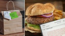 Man's 'secret' note in Uber Eats order to please vegan girlfriend