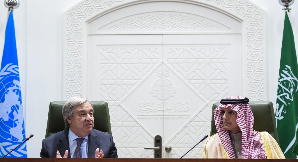 UN Secretary General Antonio Guterres (L) speaks alongside Saudi Minister of Foreign Affairs, Adel al-Jubeir, during a joint press conference held with in the Saudi capital Riyadh on February 12, 2017