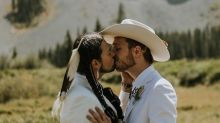 This couple mixed their cultures in a wedding featuring Native regalia and Western wear