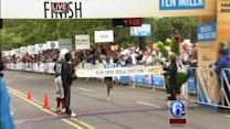 Male winner crosses Broad Street Run finish line