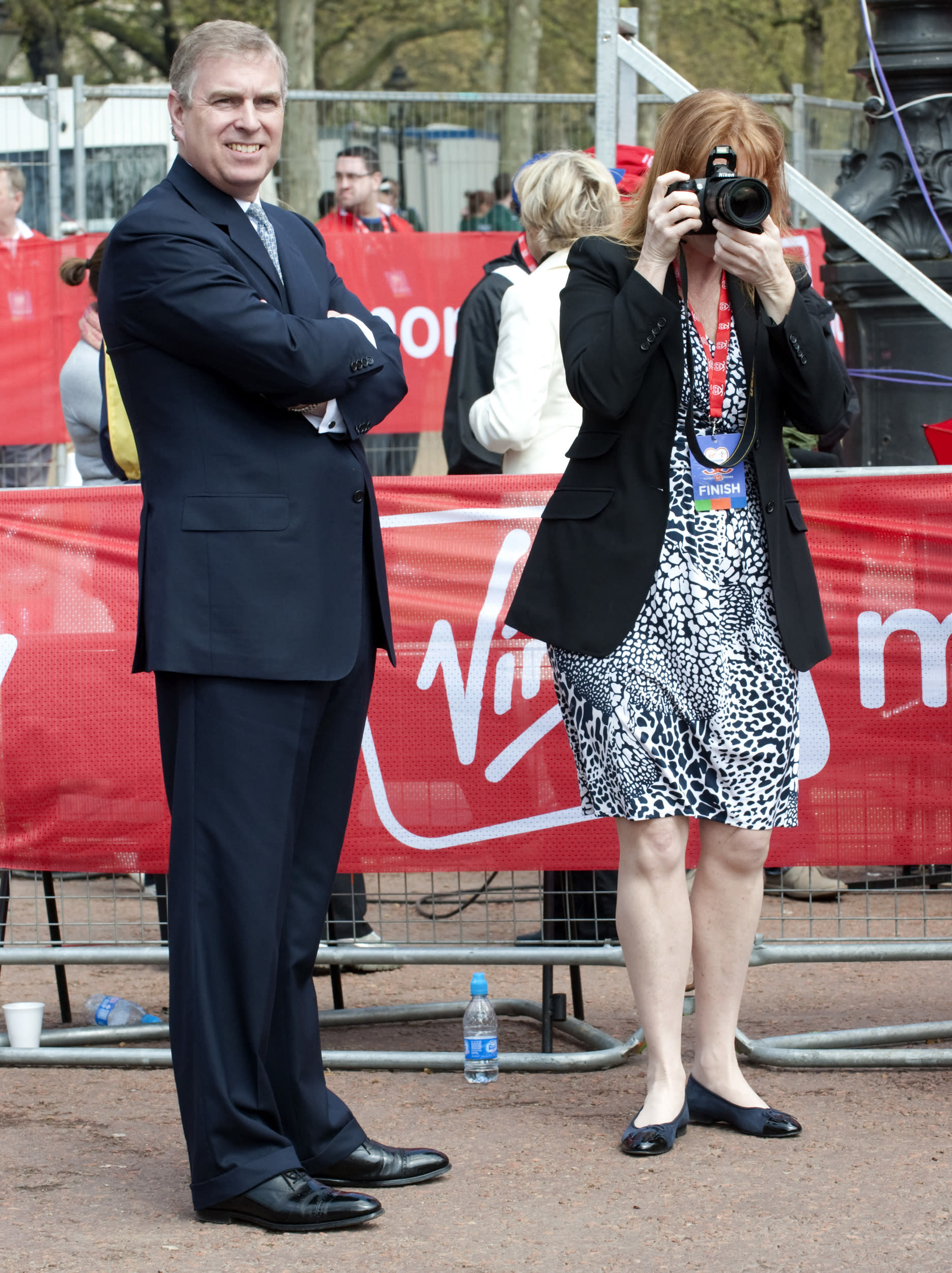 The Duchess of York, Sarah Ferguson and Prince Andrew at the finish of the 2010 London Marathon, on the Mall in central London.