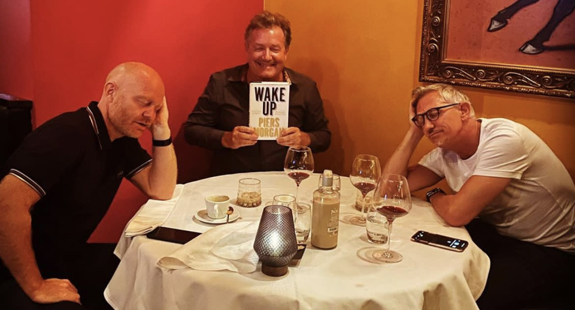 Piers Morgan celebrates new book on evening out with Gary Lineker and Jake Wood