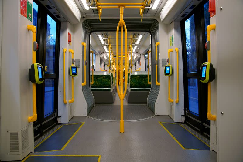 A tram remains empty during peak morning rush-hour under COVID-19 lockdown restrictions in Melbourne