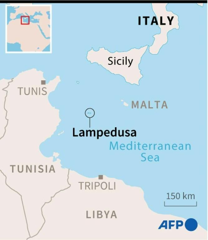 Migrants rescued near Lampedusa, Italy