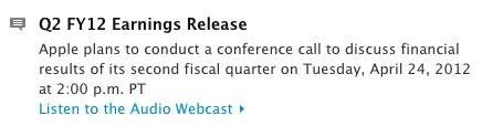 Apple's Q2 2012 earnings call scheduled for April 24