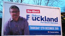 Police called after vandals change Tory minister's advert to rude word
