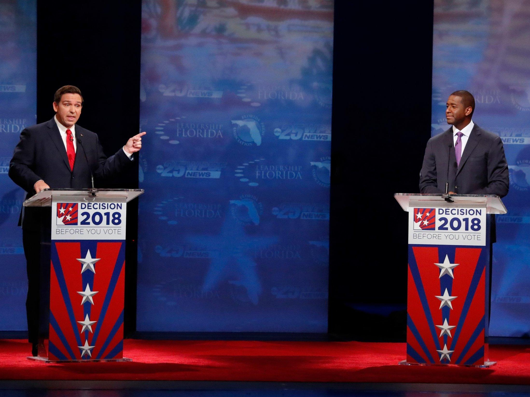 Florida governor debate: Gillum and DeSantis exchange sharp personal attacks over racism, immigration and corruption as campaign gets nast