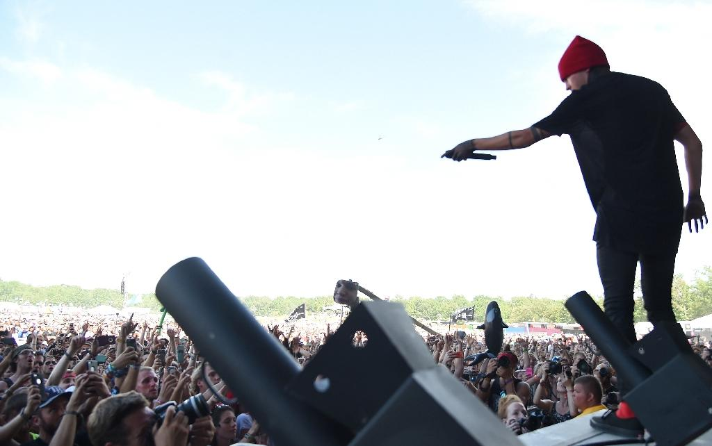 Josh Dun of Twenty One Pilots performing on stage during the 2015 Bonnaroo Music & Arts Festival