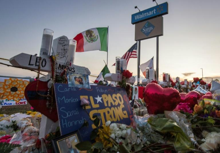 A makeshift memorial for victims was set up just days after the August 3, 2019 mass shooting at the Walmart in El Paso, Texas (AFP Photo/Mark RALSTON)