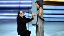 Emmy winner's sudden proposal catches his girlfriend — and the audience — totally off-guard