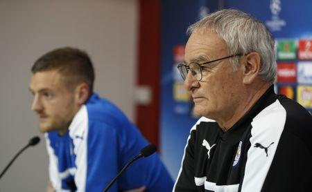 Leicester City's Jamie Vardy and Leicester City manager Claudio Ranieri during the press conference