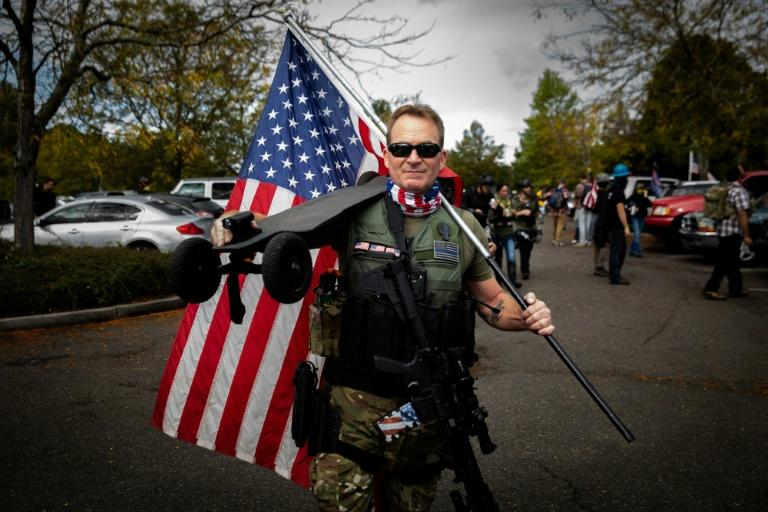 An attendee at a Proud Boys rally in Portland, Oregon in September 2020