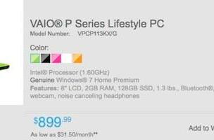 Sony's second-gen VAIO P now available for pre-order