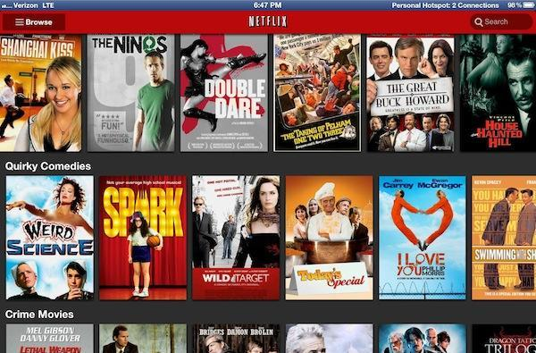 Netflix iPad app upgraded with Retina quality icons and images now, HD video soon