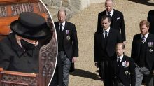 Queen, Charles, William and Harry lead mourners at Philip's funeral