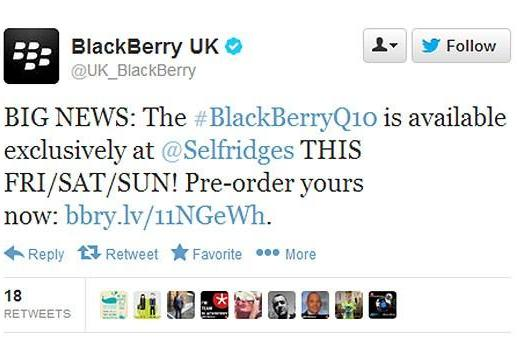 Selfridges to get Blackberry Q10 ahead of official UK launch, available this Friday for £580