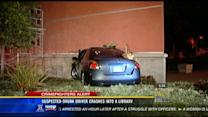 Suspected drunk driver crashes into a library