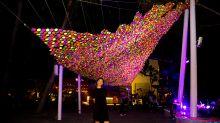 Neon light installations take over Siloso Beach