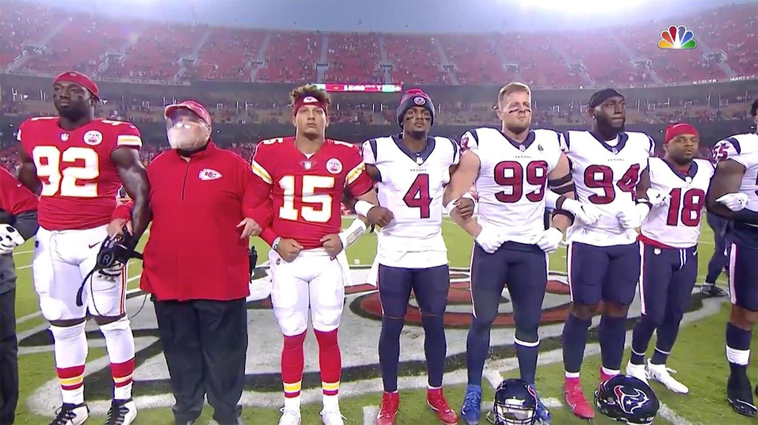 Kansas City Chiefs and Houston Texans Lock Arms in 'Moment of Unity' on  Opening Night
